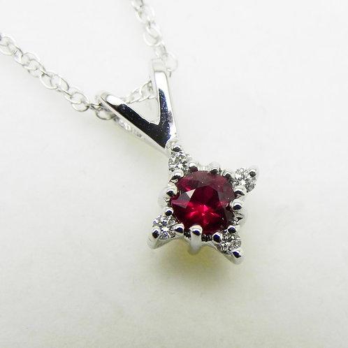 14k Ruby and Diamond Star Pendant
