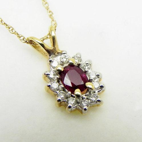 14k Ruby and Diamond Pendant