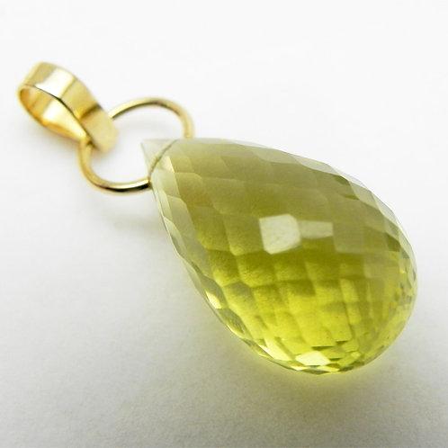 14k Lemon Citrine Briolette Pendant