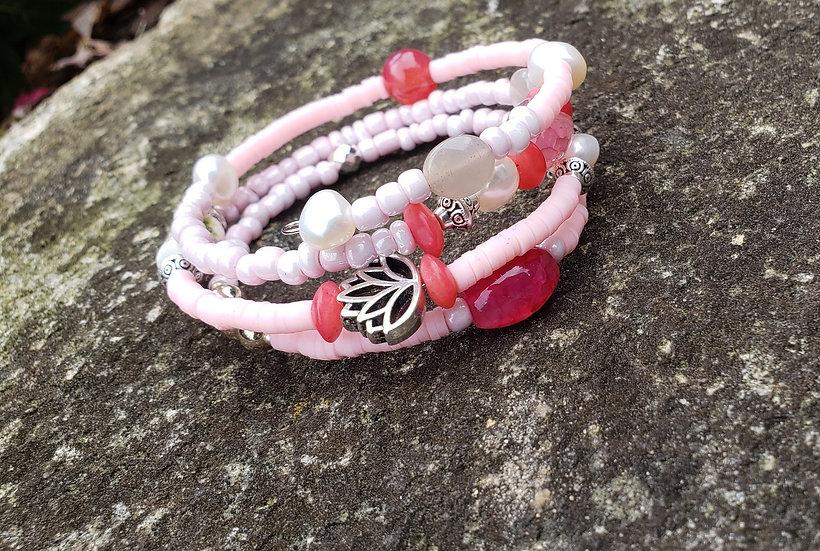 Pink Lotus Memory Wire Bracelet