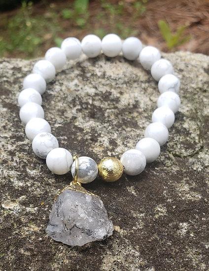 Howlite and Rutilated Quartz Drop Bracelet