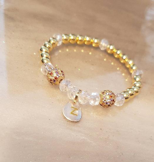 Hematite Initial Bracelet