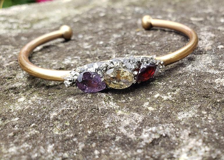 Brass Polished Gemstone Crush Cuff