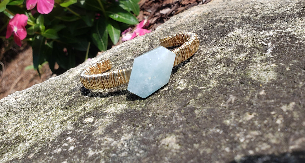Aquamarine Wire-Wrapped Gemstone Cuff