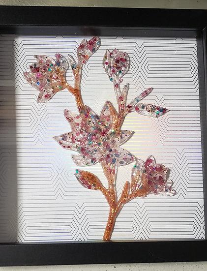 Framed Resin Floral Bouquet Art
