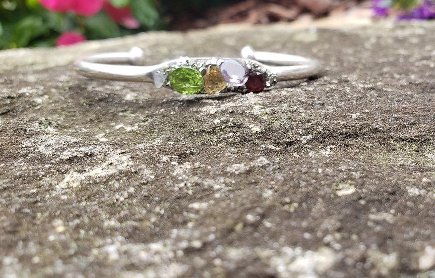 Sterling Silver Polished Gemstone Crush Cuff