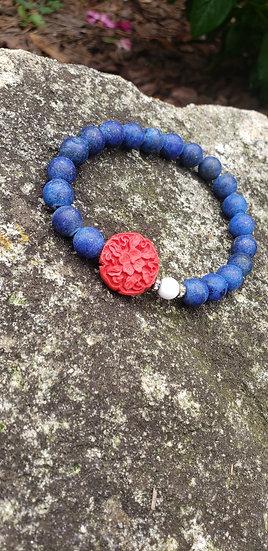 Lapis Lazuli and Cinnabar Bracelet