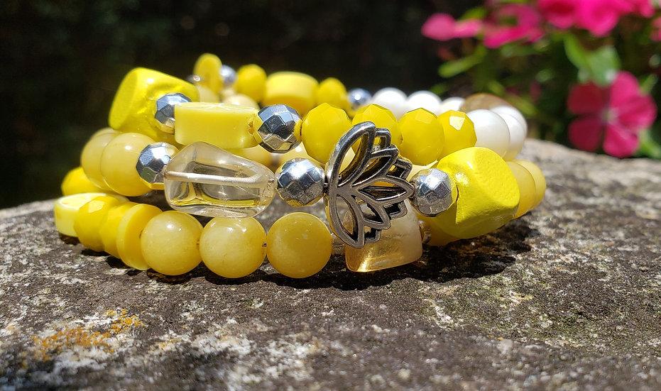 Yellow Lotus Memory Wire Bracelet