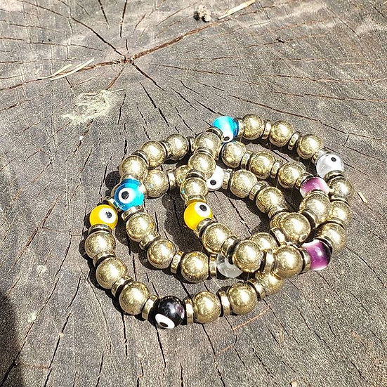 Hematite Evil Eye Bracelet Stack