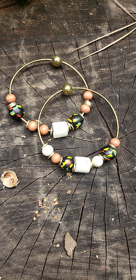 Beaded Afrocentric Hammered Bangles