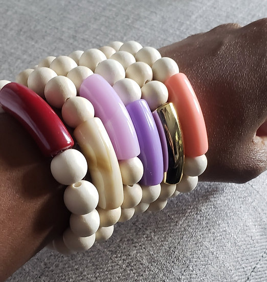 Cream Wood Noodle Stackers