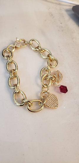 Gold-Filled Pave Hearts and Kisses Bracelet