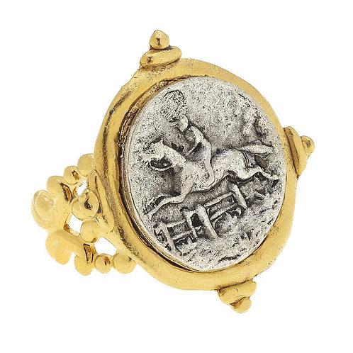 Handcast Silver Intaglio Equestrian Adjustable Ring