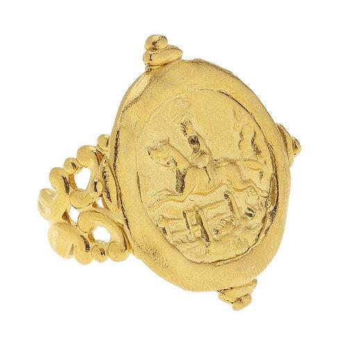Handcast Gold Intaglio Equestrian Adjustable Ring