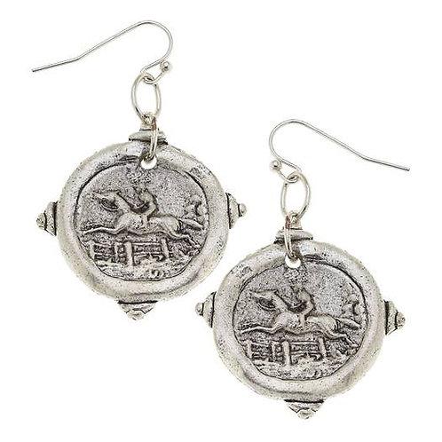 Silver Equestrian Intagilo Earrings