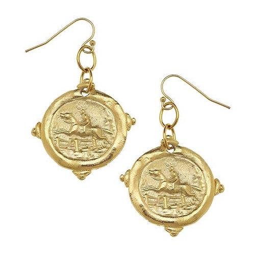 Gold Equestrian Earrings