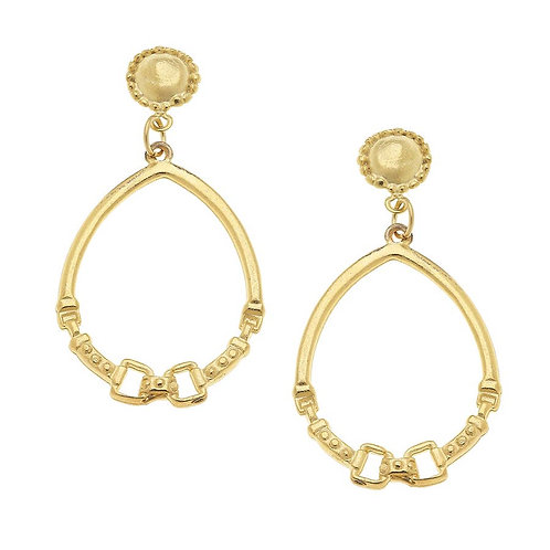 Gold Cab and Horse Bit Hoop Earrings