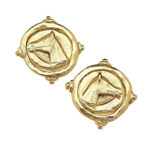 Gold Horse Intagilo Pierced Earrings