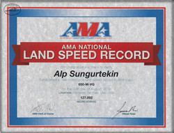 Land Speed Record Certificate for the 650cc Modified Vintage Class