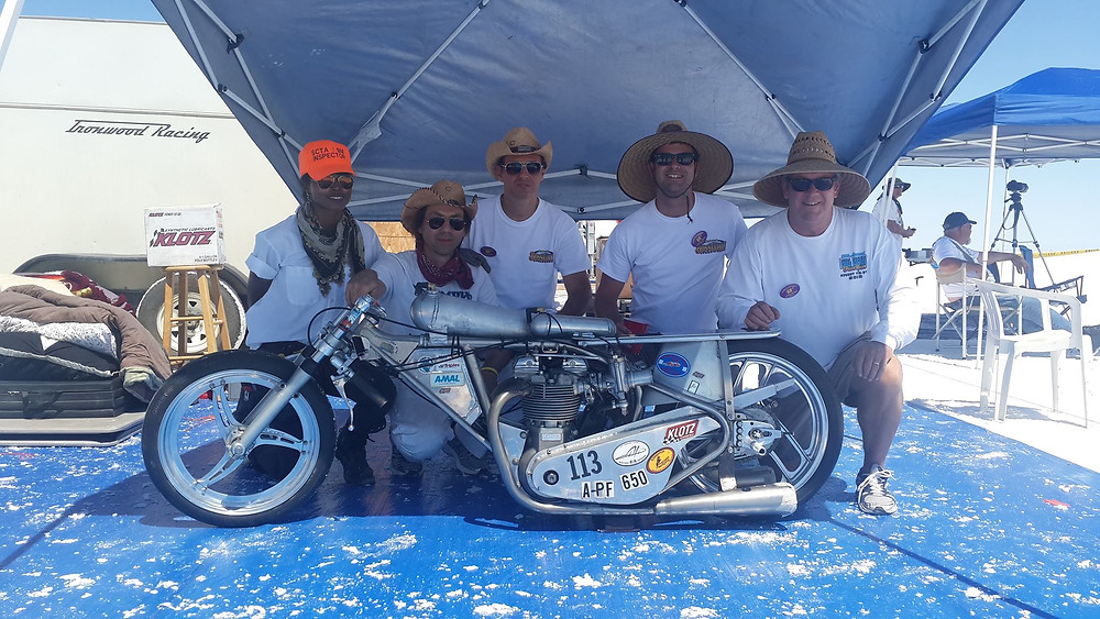 We're back, best Bonneville SpeedWeek for us yet! First time we raced in two separate engine classes and two records in our first attempts.  Pushrod Fuel 650 two way average 149.664mph, previous record held by M. Leininger Honda 8 /13 134.849mph  Vintage Fuel 650 two way average 151.375mph, previous record held by R. Newton Triumph 8 /07 144.531mph  We had a great team. We are thankful to all of them, @artisteobscure our crew chief did a great job after every run and prepping the engines for the next run. It was great to have Tom Evans on board he makes us stronger! Our good friend @serkanerenay and Ironwood Racing Team members were with us, thank you @triplenickel555, Ted and Ralph and thanks for Jim and Leslie Hoogerhyde for helping us.  And thanks to our sponsors! #klotzlube #lowbrowcustoms thunderengineering #morrismagneto #amalcarb #webcamshafts #kibblewhite