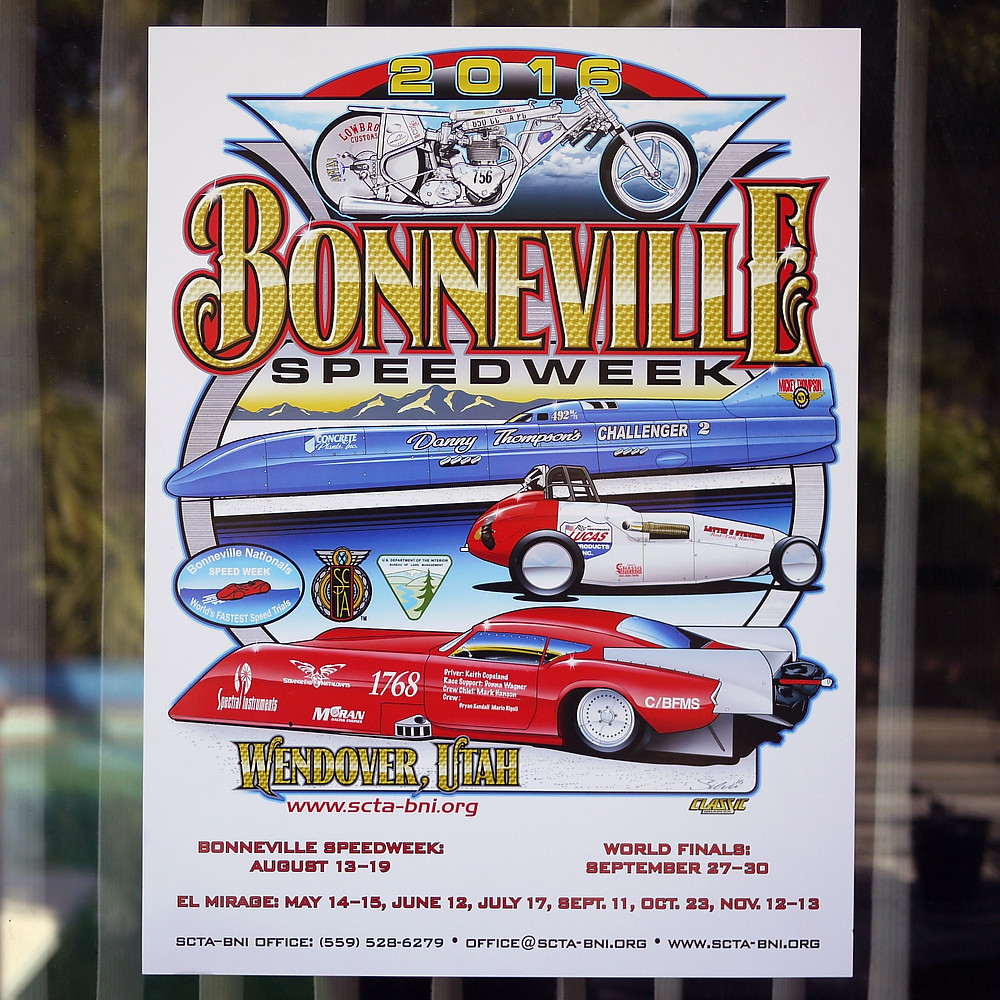 2016 Official Bonneville Speedweek Poster is out!  Our #Triumphpreunit made it on with some of the iconic and fastest cars of #LandSpeedRacing. Can't explain how happy we are! Thank you SCTA and the Bonneville Nationals INC.  Poster will be available on Ebay and www.shop.scta-bni.org #SCTA #Landspeed #landspeedrecord #lsr #bonnevillespeedweek #bonnevillesaltflats #preunit #preunittriumph #triumphracing  #klotzlube #lowbrowcustoms #thunderengineering #morrismagneto #amalcarb #webcamshafts #kibblewhite #alpracingdesign #alpracingengines