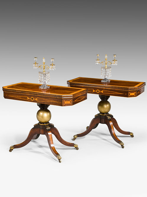 A Pair of Regency Period Rosewood Card Tables