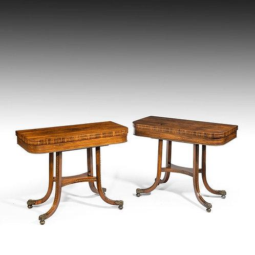 A Pair of Regency Rosewood Card Tables