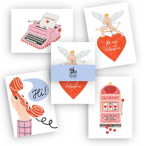 4 Valentinskarten - Postkartenset