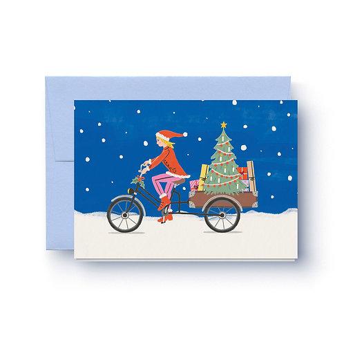 Tannenbaum Lastenrad - Weihnachtskarte