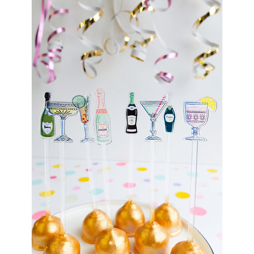 Party - 8× Acrylic Drink Sticks