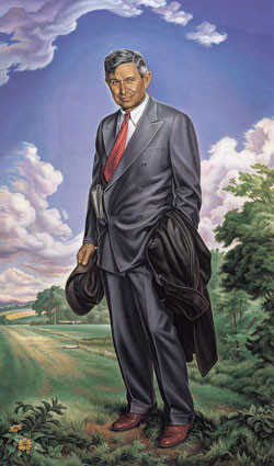 Oklahoma artist Charles Banks Wilson's majestic painting that hangs in the Oklahoma State Capitol Rotunda