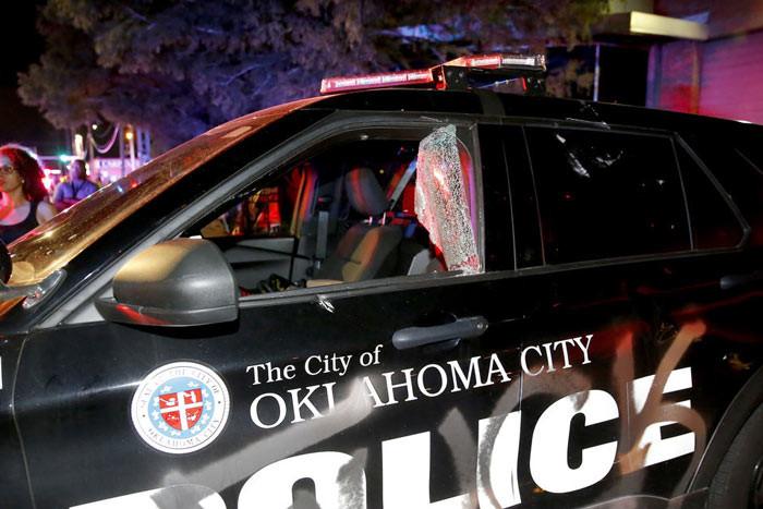 Police car vandalized