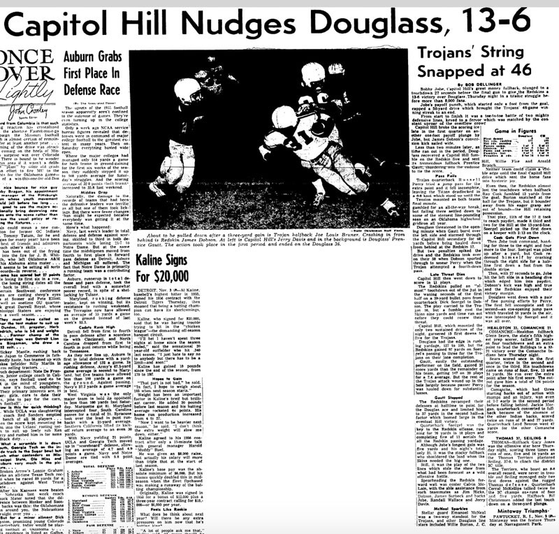 The Daily Oklahoman newspaper sports section's dramatic, morning-after coverage of the historic 1955 Douglass-Capitol Hill football game