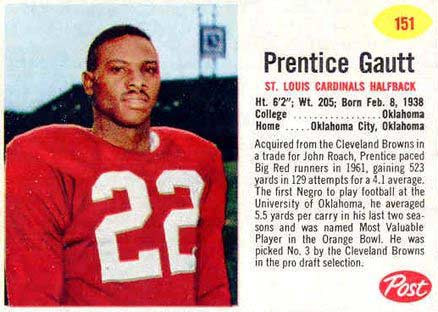 Prentice Gautt's 1962 St. Louis Cardinals player card