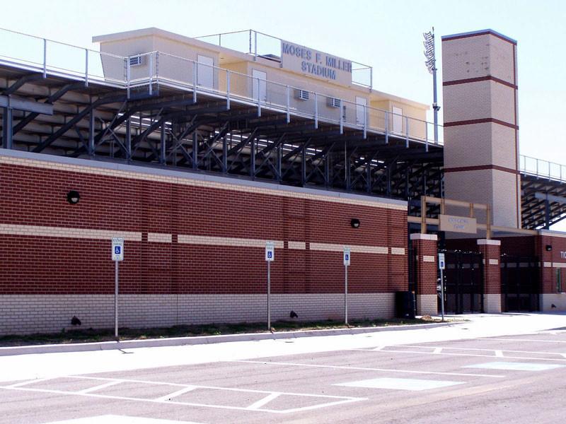 Douglass High School's modern-day football stadium, named for mighty Trojan coach Moses F. Miller