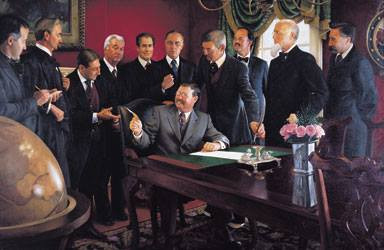 Edmond, OK artist Mike Wimmer's rendering of President Theodore Roosevelt signing the Nov. 16, 1907 Oklahoma statehood bill.