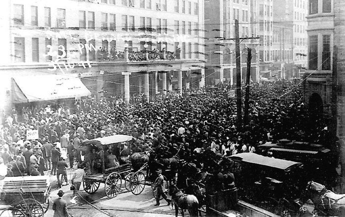This massive downtown OKC crowd demonstrates the power of Kate Barnard's oratory during the 1911 OKC Streetcar Strike.