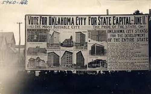 A pro-OKC billboard advertisement during the 1910 campaign for state capital