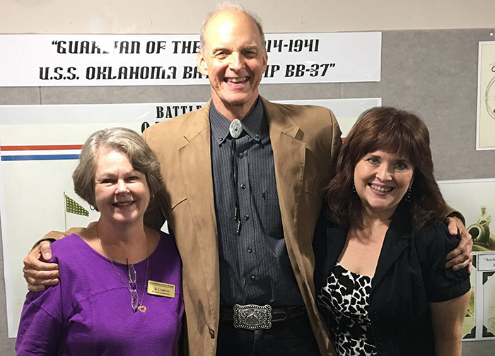 John with Bartlesville Area History Museum Coordinator Jo Crabtree and his wife Grace