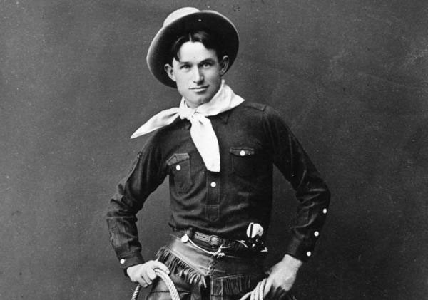 Young cowboy and vaudevillian Will Rogers