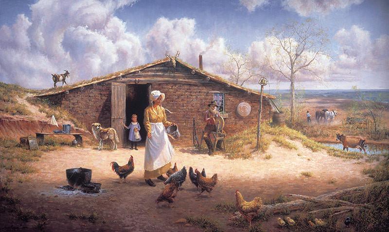Dugout Soddy on the Prairie - Wayne Cooper