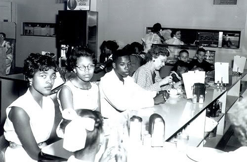 Clara Luper's Oklahoma N.A.A.C.P. Youth Council at a segregated Oklahoma City lunch counter sit-in