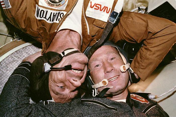 American astronaut Thomas Stafford and Soviet Cosmonaut Aleksey A. Leonov
