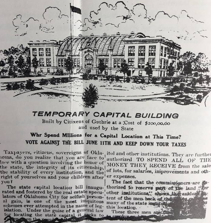 A pro-Guthrie newspaper advertisement during the 1910 campaign for state capital