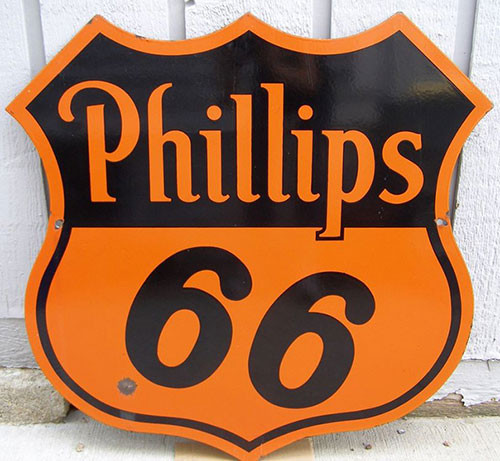 Phillips Petroleum's original orange and black sign, in use during World War 2