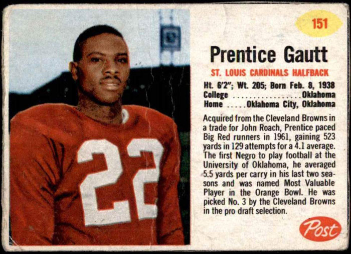 Douglass football star Prentice Gautt's NFL trading card