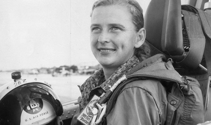 Oklahoma astronaut trainee Jerrie Cobb prepares to take off in a jet airplane