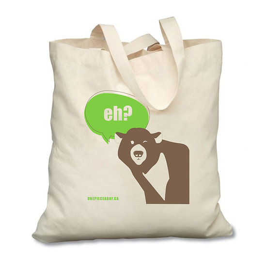 Our eco-friendly, reusable cotton tote bag, featuring a cute Canadian Grizzly bear saying 'eh?'