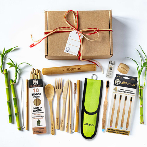 allBambu Zero Waste Box Eco Holiday Family Gift Set