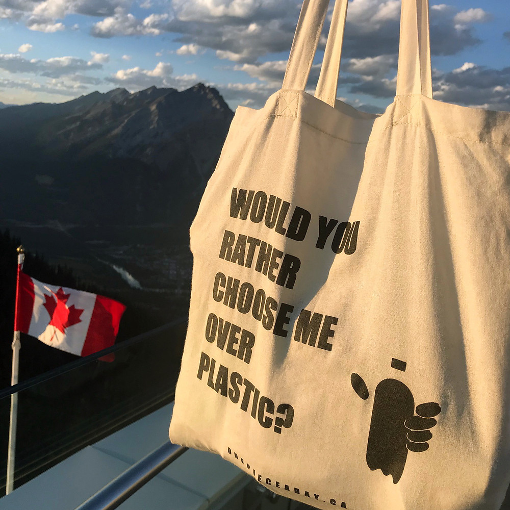 A reusable shopping bag, scenic mountains and the Canadian Flag